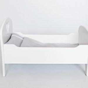 Drewniane łóżeczko dla lalek z pościelą - biało-szare