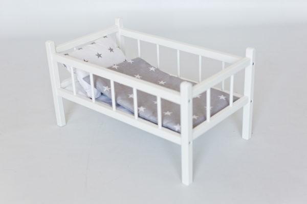 Drewniane łóżeczko dla lalek z pościelą - gwiazdki