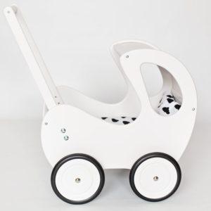 Drewniany wózek dla lalek Retro - biało-czarny
