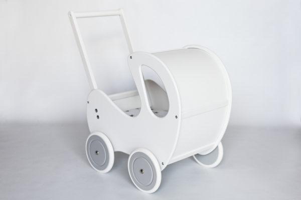 Drewniany wózek dla lalek Retro - biało-szary