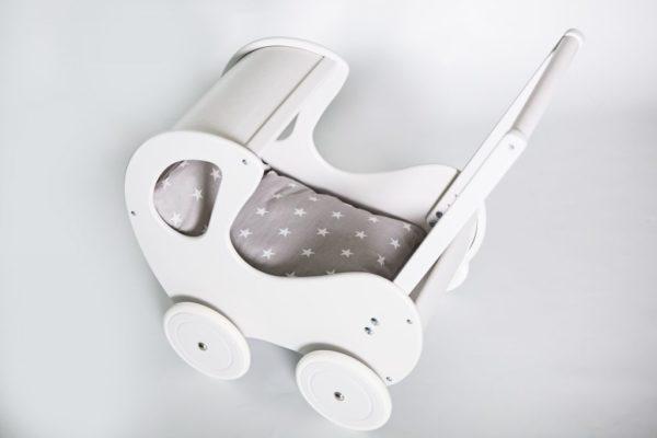 Drewniany wózek dla lalek Retro - biały