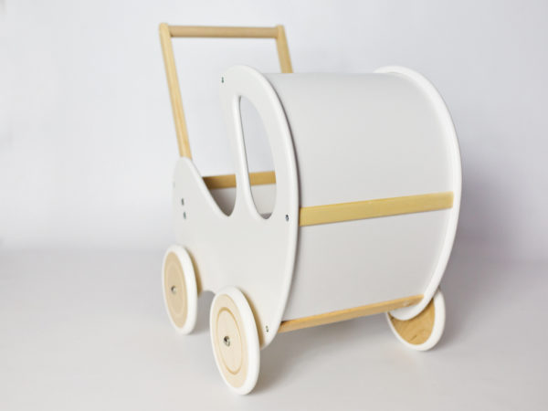 Drewniany wózek dla lalek Retro - biel połączona z naturalnym drewnem