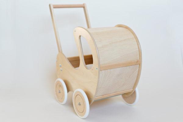 Drewniany wózek dla lalek Retro - naturalne drewno