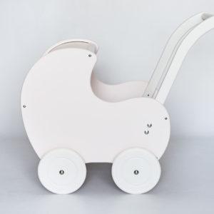 Drewniany wózek dla lalek Retro Styl - porcelanowy róż połączony z bielą
