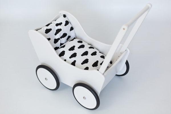 Drewniany wózek dla lalek - pchacz Tola - biało-czarny
