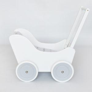 Drewniany wózek dla lalek - pchacz Tola - biało-szary