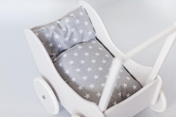Drewniany wózek dla lalek - pchacz Tola - biały