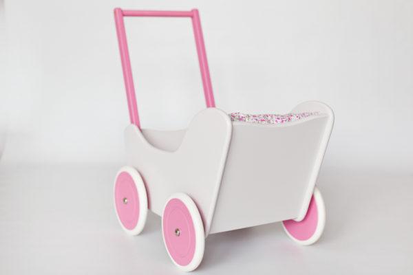 Drewniany wózek dla lalek - pchacz Tola - biel połączona z pastelowym różem