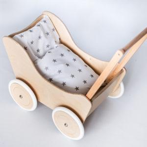 Drewniany wózek dla lalek - pchacz Tola - naturalne drewno 1