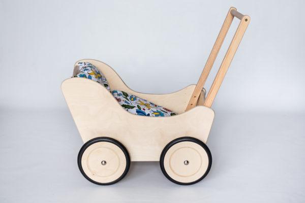 Drewniany wózek dla lalek - pchacz Tola - naturalne drewno 2