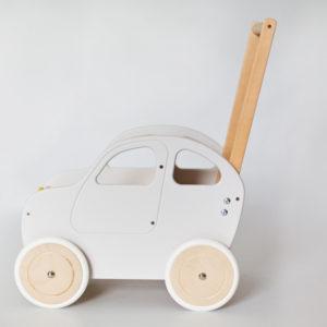 Drewniany wózek - pchacz Autko - biała hybryda