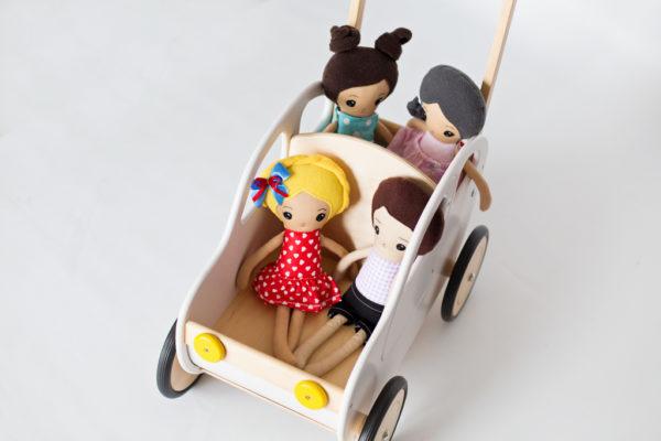 Drewniany wózek – pchacz Autko – biała hybryda 2