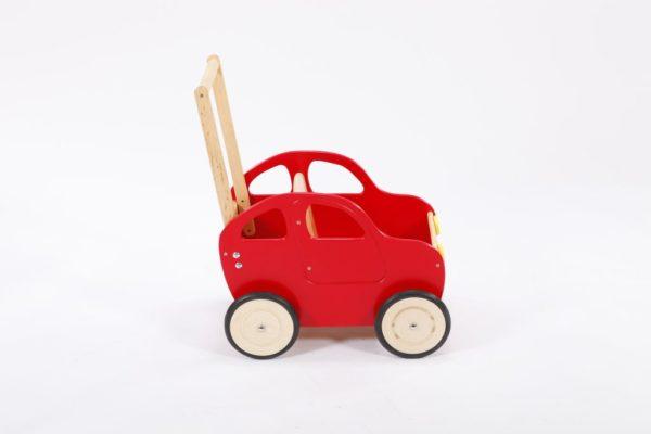 Drewniany wózek – pchacz Autko – czerwony dieselek