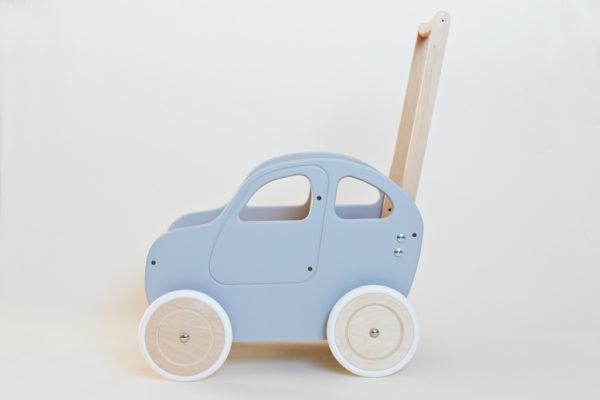 Drewniany wózek - pchacz Autko - szara hybryda