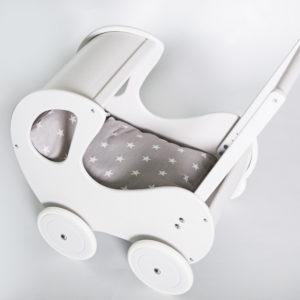 Pościel - śpiworek do wózka dla lalek - białe gwiazdki