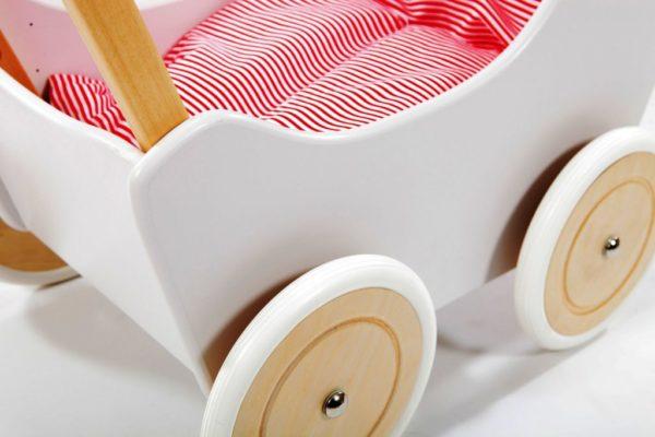 Pościel-śpiworek do wózka dla lalek - czerwone paseczki