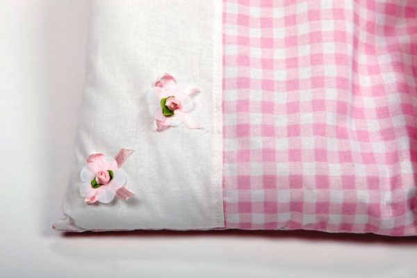 Pościel - śpiworek do wózka dla lalek - różowa krateczka z falbanką