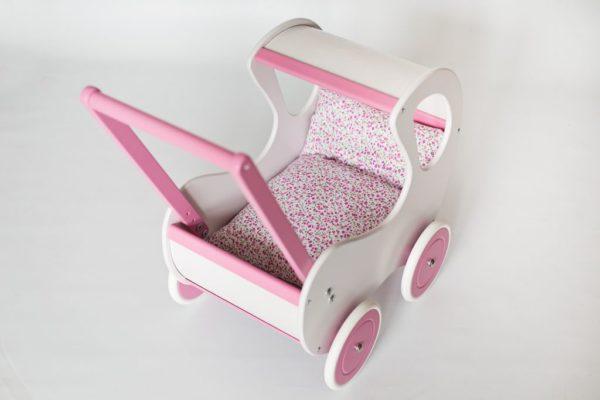 Pościel-śpiworek do wózka dla lalek - różowa łączka