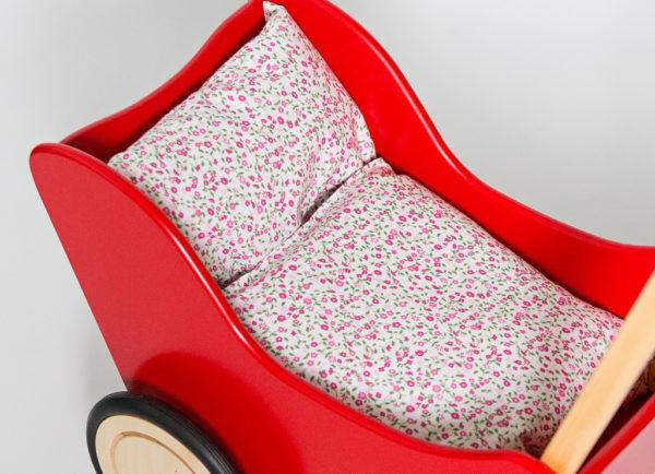Pościel - śpiworek do wózka dla lalek - różowa łączka