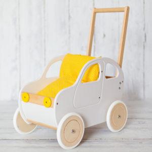 Pościel - śpiworek do wózka dla lalek - żółte kropeczki